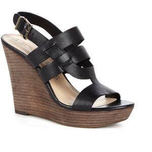 Sole Society Jenny Leather Platform Wedge Sandal